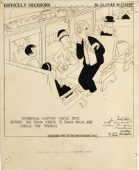 GLUYAS WILLIAMS (American 1888 - 1982) Difficult Decisions, 1927 Ink on paper 10-1/2 x 8-1/2in. Signed and inscr