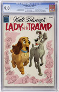 Golden Age (1938-1955):Cartoon Character, Dell Giant Comics - Lady and the Tramp #1 - File Copy (Dell, 1955)CGC VF/NM 9.0 Off-white to white pages....