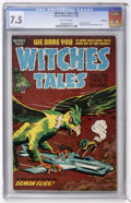 Golden Age (1938-1955):Horror, Witches Tales #28 Bethlehem pedigree (Harvey, 1954) CGC VF- 7.5Off-white pages....