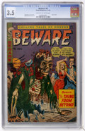 Golden Age (1938-1955):Horror, Beware #6 (Trojan/Prime, 1953) CGC VG- 3.5 Cream to off-whitepages....