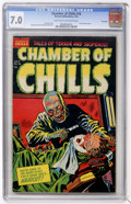 Golden Age (1938-1955):Horror, Chamber of Chills #18 File Copy (Harvey, 1953) CGC FN/VF 7.0 Lighttan to off-white pages....
