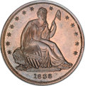 Patterns, 1838 P50C Seated Liberty Half Dollar, Judd-77 Restrike, Pollock-85, High R.7, PR66 Red and Brown NGC....