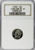 Proof Roosevelt Dimes: , 1955 10C PR68 Ultra Cameo NGC. NGC Census: (14/7). PCGS Population(8/0). (#95230)...