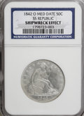 Seated Half Dollars, 1842-O 50C Medium Date, Large Letters--Shipwreck Effect, SSRepublic--NGC. Mintag...