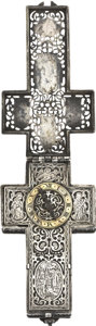 Timepieces:Pocket (pre 1900) , Renaissance Style Silver Cross Form Watch, 19th century. ...