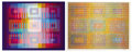 Fine Art - Work on Paper:Print, YAACOV AGAM (Israeli, b. 1928). Abstract on White Backgroundand Abstract on Blue Background (a pair). Silkscreen on...(Total: 2 Items)