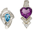 Estate Jewelry:Pendants and Lockets, Diamond, Amethyst, Blue Topaz, Cultured Pearl, White GoldEnhancer-Necklaces. ... (Total: 2 Items)