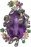 Estate Jewelry:Pendants and Lockets, Amethyst, Colored Diamond, Diamond, Multi-Stone, Platinum Pendant. ...