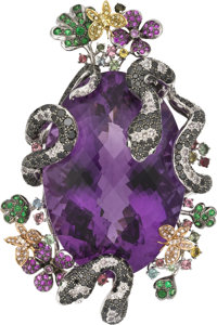 Amethyst, Colored Diamond, Diamond, Multi-Stone, Platinum Pendant