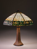 "Decorative Arts, American:Lamps & Lighting, HANDEL and ROOKWOOD POTTERY. A ""Double Ivy"" Overlaid Leaded Glass, Patinated Metal, and Glazed Earthenware Table Lamp, circa... (Total: 2 Items)"
