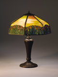 """Lighting:Lamps, HANDEL. A """"Cattail"""" Overlaid Leaded Glass and Bronze Table Lamp, circa 1920. Shade signed: HANDEL / PAT'D. NO. / 979664 ... (Total: 2 Items)"""