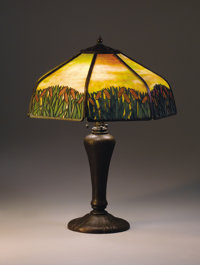 """HANDEL A """"Cattail"""" Overlaid Leaded Glass and Bronze Table Lamp, circa 1920 Shade signed: HANDEL / PAT'D. NO..."""