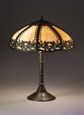 """Lighting:Lamps, HANDEL. A """"Leaf and Berry"""" Overlaid Leaded Glass and Patinated Metal Table Lamp, circa 1920. Base marked: 5296 / HANDEL... (Total: 2 Items)"""