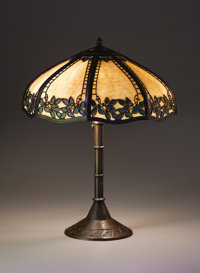 """HANDEL A """"Leaf and Berry"""" Overlaid Leaded Glass and Patinated Metal Table Lamp, circa 1920 Base marked: 5296..."""