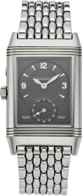 Timepieces:Wristwatch, Jaeger LeCoultre Men's Day/Night Duoface Reverso Men's Wristwatch, circa 1990. ...