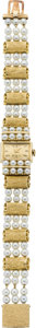 Timepieces:Wristwatch, Lucien Piccard Lady's Gold and Pearl Wristwatch, circa 1965. ...