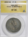 Early Half Dollars, 1806 50C 6 Over Inverted 6 VF35 ANACS....