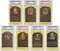 Autographs:Post Cards, Signed Gold Hall of Fame Plaques PSA-Graded Group Lot of 7...