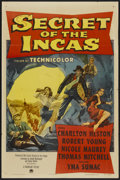 "Movie Posters:Adventure, Secret of the Incas (Paramount, 1954). One Sheet (27"" X 41"").Adventure...."