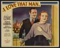 "Movie Posters:Crime, I Love That Man (Paramount, 1933). Lobby Card (11"" X 14""). Crime...."