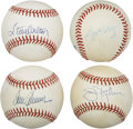 Autographs:Baseballs, Baseball Hall of Fame Pitchers Single Signed Baseballs Lot of 4....
