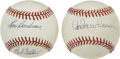 Autographs:Baseballs, Pitching Legends And Hall Of Famers Signed Baseballs Lot Of 2....