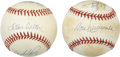 Autographs:Baseballs, Vintage Star Pitchers Multi-Signed Baseballs Lot of 2.... (Total: 2items)