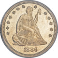 Seated Quarters, 1886 25C MS66 PCGS. CAC....