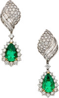Estate Jewelry:Earrings, Emerald, Diamond, White Gold Detachable Earrings. ...
