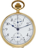 Timepieces:Pocket (post 1900), Swiss Gold Chronograph with Register, circa 1905. ...