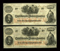 Confederate Notes:1862 Issues, T41 $100 1862 Two Consecutive Examples.. ... (Total: 2 notes)