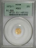 California Fractional Gold: , 1872/1 25C Indian Round 25 Cents, BG-868, High R.4, MS63 PCGS. PCGSPopulation (10/31). NGC Census: (3/6). (#10729)...
