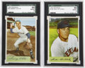 Basketball Cards:Lots, 1954 Bowman Baseball SGC 88 NM/MT 8 Group Lot of 2....