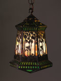 """Decorative Arts, American:Lamps & Lighting, HANDEL. A """"Sunset Palm"""" Overlaid Leaded Glass and Patinated Metal Lantern with Canopy and Chain, circa 1920. Marked on inter... (Total: 2 Items)"""