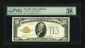 Small Size:Gold Certificates, Fr. 2400 $10 1928 Gold Certificate. PMG Choice About Unc 58 EPQ.. ...