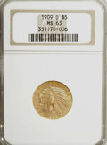 Indian Half Eagles: , 1909-D $5 MS63 NGC. NGC Census: (6461/1695). PCGS Population(8118/2243). Mintage: 3,423,560. Numismedia Wsl. Price for NGC...