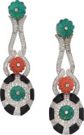 Estate Jewelry:Earrings, Emerald, Coral, Black Onyx, Diamond, White Gold Earrings. ...(Total: 2 Items)