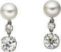 Estate Jewelry:Earrings, Diamond, Cultured Pearl, White Gold Earrings. ... (Total: 2 Items)