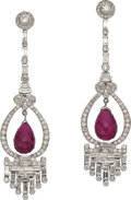 Estate Jewelry:Earrings, Pink Tourmaline, Diamond, White Gold Earrings. ... (Total: 2 Items)