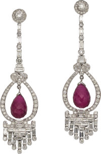 Pink Tourmaline, Diamond, White Gold Earrings
