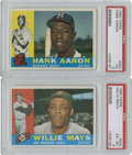 Baseball Cards:Lots, 1960 Topps Hall of Famers PSA-Graded Group Lot of 2....