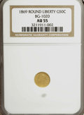 California Fractional Gold: , 1869 50C Liberty Round 50 Cents, BG-1020, Low R.4, AU55 NGC. NGCCensus: (1/10). PCGS Population (12/69). (#10849). Fro...
