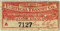 General Historic Events:World Fairs, World's Columbian Exposition: The Vertical Transit Company Elevator Ride Ticket....