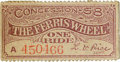 General Historic Events:World Fairs, World's Columbian Exposition: Rare Ticket for The Ferris Wheel....