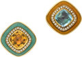 Estate Jewelry:Earrings, Blue Topaz, Citrine, Diamond, Enamel, Gold Earrings, English. ...