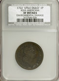 1722 PENNY Rosa Americana Penny, UTILE--Environmental Damage--NCS. XF Details. NGC Census: (0/0). PCGS Population (3/36)...