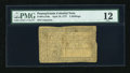 Colonial Notes:Pennsylvania, Pennsylvania April 10, 1777 3s PMG Fine 12....