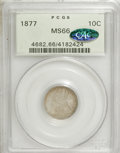 Seated Dimes, 1877 10C MS66 PCGS. CAC....