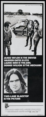 "Two-Lane Blacktop (Universal, 1971). Insert (14"" X 36""). Cult Classic"
