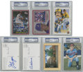 Autographs:Post Cards, Baseball Hall of Famers PSA-Graded Postcards/Trading Cards Lot of 7....